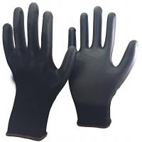 Buy cheap 13 Gauge Knitted Black Nylon PU Dipped Working Gloves for Construction product