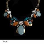 Buy cheap Vogue Big Semi-stone Chunky Metal Bib Necklace Gold Popular Bib Ethnic Necklace Jewelry from wholesalers