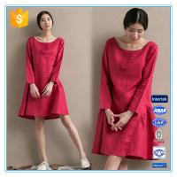 Buy cheap Fashion red linen ladies winter one piece dress of large size from wholesalers