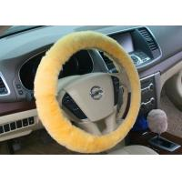 Buy cheap Diameter 38cm Dyed Red Fluffy Steering Wheel Cover Super Soft With Lamb Fur from wholesalers
