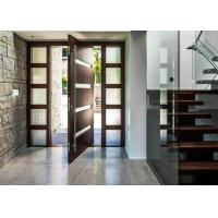 Buy cheap 5mm Tempered Glass Solid Wood Doors Front Pivot Doors Protects Against Insects from wholesalers