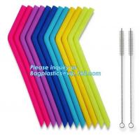 Buy cheap Anti-Cutting Mouth Flexible Silicone Straw Metal Straw With Silicon Tip Sleeve Cleaning Brushes Set Reusable Silicone Dr from wholesalers