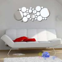 Buy cheap 3D Silver Mirror Surface Geometric 28pcs Round Acrylic Wall Sticker Decor from wholesalers