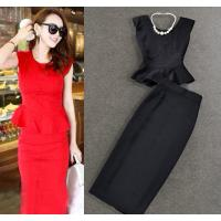 Buy cheap Graceful Round Neck Two Piece women business suits split skirt plus size from wholesalers