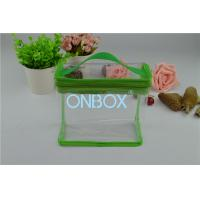 Buy cheap Fashion Carrying Transparent PVC Zipper Bags With Green Borders / Handle from wholesalers