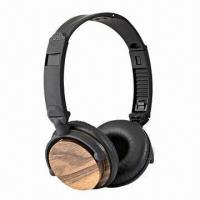 Buy cheap Walnut Wooden Wired Headphones with Self-developed Driver, Foldable Headband, In-line Mic from wholesalers