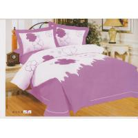 Buy cheap Bedroom Designer Purple Floral Embroidered Cotton Queen Bed Linen Sets from wholesalers