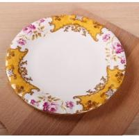 Buy cheap flower painted multi-color cast iron enamel dinner plate salad dish plate product