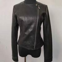 Buy cheap Slim Fit Fashion Ladies Jackets , Short Black Faux Leather Jacket product