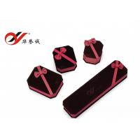 Buy cheap Classic Style Velvet Jewelry Box Plum Square Ribbon Flower Jewelry Box from wholesalers