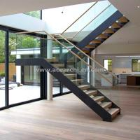 Buy cheap Modern L-shape Wood Staircase Design / Internal Used Glass Railing Wood Stairs from wholesalers