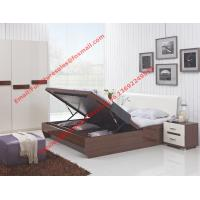 Buy cheap Storage bed box with oil bar support in dark oliver painting and white headboard from wholesalers