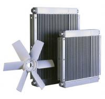 Finned Aluminium Oil Cooler , Fan Air Cooling Shell Tube Air Compressor Cooler