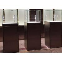 Buy cheap Simple Modern Custom Glass Display Cases Matte Black Painting Plinth Size 450X450X1350MM from wholesalers