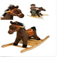 Buy cheap Kids Plush Rocking Horse With Wooden Base And Handles , Saddle & Hair from wholesalers