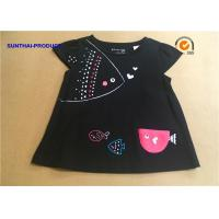 Buy cheap 3D Fish Cap Children T Shirt Crew Neck Baby Girl Black Long Sleeve Shirt from wholesalers