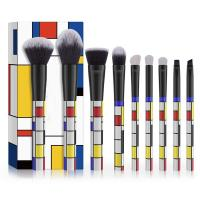 Buy cheap Square Puzzle Face Makeup Brush Set Rubik's Cube Pattern 9 Items OEM Production from wholesalers