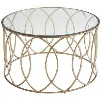 Buy cheap New designs small stainless steel coffee table gold side table with amber glass top Bronze Iron Round Coffee Table from wholesalers