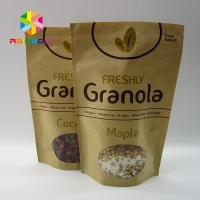 Buy cheap Custom printed cheap kraft paper bag with zipper brown kraft paper bag with window for coffee beans and dry food from wholesalers