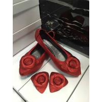 Buy cheap high quality red cow hide shoes maternity shoes ladies flat shoes foldable ballet shoes rose flower dress shoes BS-16 from wholesalers