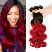 Buy cheap Brazilian Virgin Hair Body Wave Ombre Human Hair Extensions1B Burgundy Red Two Tone Color Hair from wholesalers