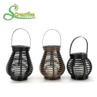 Buy cheap Hanging Amorphous Silicon Solar Led Rattan Lantern , Round Rattan Candle Table Lanterns from wholesalers