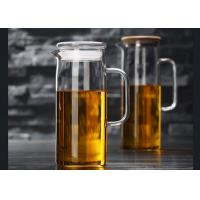 Buy cheap 60 Ounces Glass Pitcher With Lid , Juice Beverage Carafe Hot Cold Water Jug from wholesalers