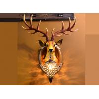Buy cheap Resin Glass Led Wall Strip Lights Lucky Deer Head Lamp Hand - Painted Durable from wholesalers