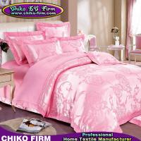 Buy cheap Pure Cotton King Size Pink Flower Jacquard Wedding Bedding Sets from wholesalers