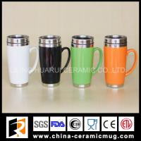 Buy cheap 400ml colorful glazed stainless steel ceramic mug with lid from wholesalers