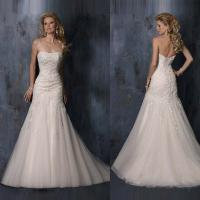 Buy cheap Luxury Sexy Slim Strapless Lace Mermaid Bride Wedding Dress Floor-length Wedding Gown 2015 Free Shipping from wholesalers