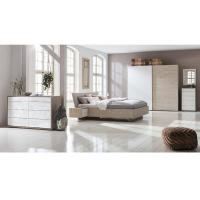Fabric Upholstered Bed Melamine Bedroom Furniture 2 Meters Width Sliding Wardrobe