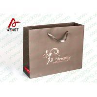 Brown Custom Paper Shopping Bags With Bottom Cardboard Satin Ribbon