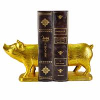 Buy cheap Polyresin Piggy Home Decor Bookends With Gold Gilded Urban Customized Size from wholesalers