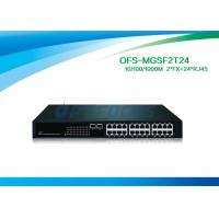 Buy cheap 12G Fiber Optic Managed Switch 2 SFP 1000 BASE - Fx 24 10 / 100 / 1000 BASE - Tx Fiber Switch No SFP from wholesalers