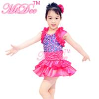 Buy cheap Satin Tiers Skirt Ruffle Neckline Confetti Sequins On Bodice Dress Dance Clothes for Kids' Performance from wholesalers