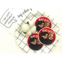 Buy cheap Round Custom Embroidered Patches With Cute People Pattern And Red Background from wholesalers