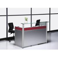 Buy cheap Double deck white MFC board body and glass top displayoffice reception desk with alunium columns BS-624RT from wholesalers