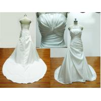 Buy cheap A-line Pleated Bodice Floor Length Real Samples Wedding Dress With Chapel Train from wholesalers