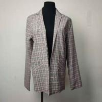 Buy cheap Button - Less Tweed Ladies Blazer , Plaid Ladies Casual Blazer Jacket from wholesalers