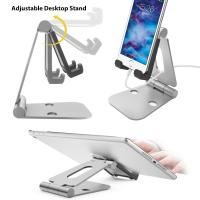 Buy cheap Multi-angle Folding Portable Silver Black Aluminum Tablet Stand For Smartphone / iPad With A Silicone Anti-slip Cover from wholesalers