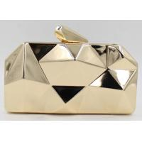 Buy cheap Fashion Lady Shine White And Gold Clutch Bag , Metal Box Purse With Long Chain from wholesalers