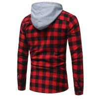 Buy cheap Latest design custom long sleeve 100%cotton flannel shirts casual men hooded plaid shirts from wholesalers