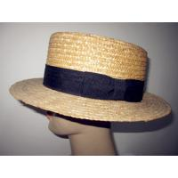 Buy cheap 62cm Boater Shape Mens Straw Fedora Hat , Black Ribbon 3.5cm PU In Zigzag Stitching from wholesalers