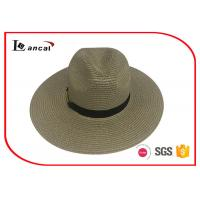 Buy cheap Chocolate Wide Brimmed Straw Hat , 2 cm Black Ribbon Band Womens Summer Hats from wholesalers
