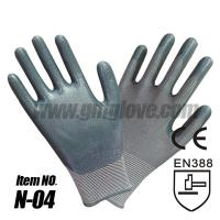 Buy cheap Nylon Nitrile Coated Gloves , Gray yarn from wholesalers