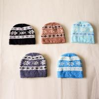 Buy cheap Newst warm fashion deluxe simple winter snowflak pattern Knitted fleece Beanies knitting crochet cap for teenagers kids from wholesalers