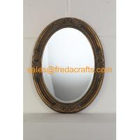 Buy cheap Antique gold finish PU framed oval shaped wall mirror with carved flowers and bevelled mirror from wholesalers