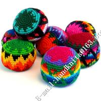Buy cheap Hand Knit Crochet Hacky Sack Footbag Teething Toy Kick Ball Juggling Hack Sack Crocheted Ornament Christmas Beads Dec from wholesalers