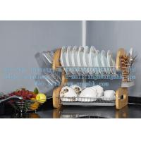 Buy cheap Wooden dish rack, stainless steel dish rack, kitchen utensils dish rack, drain bowl rack from wholesalers